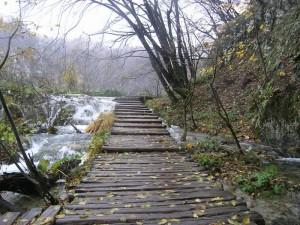 Detalj kestenovih drvenih staza na Donjim jezerima